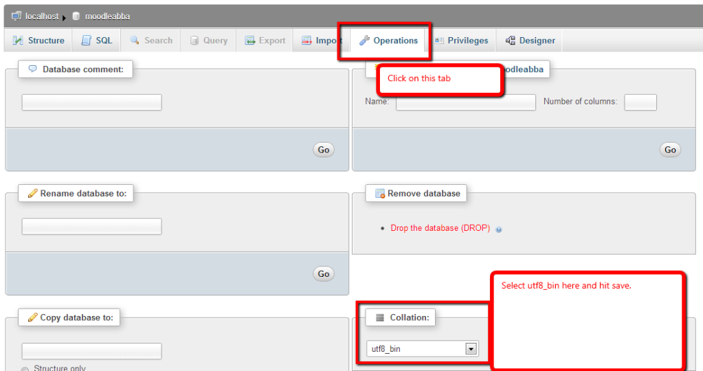 database collation on the moodle