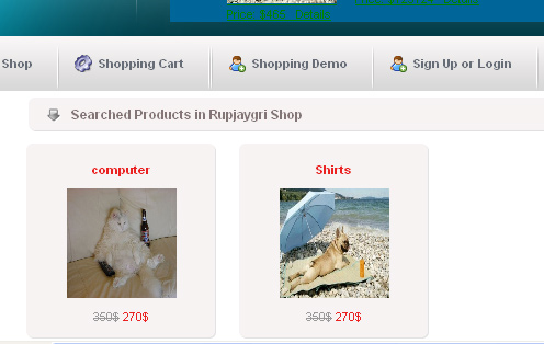 listing of search at the eshopping final year project