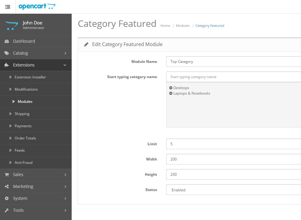 Show selected categories as featured categories OpenCart module free