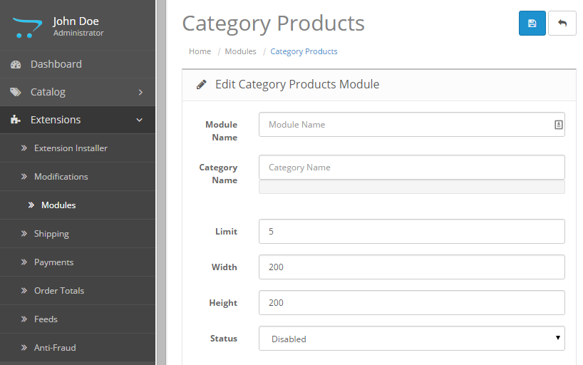 category products show admin setting Opencart free module