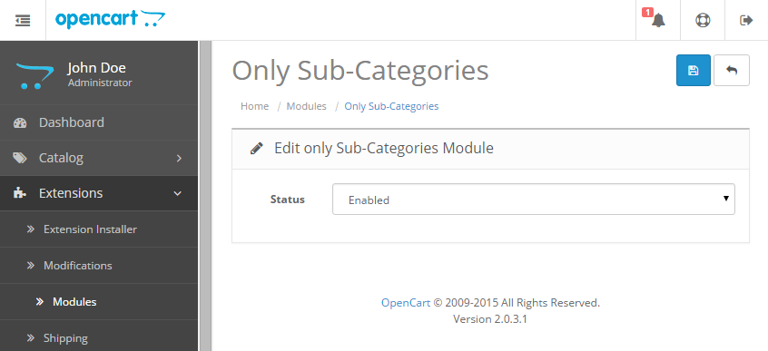Only Sub Categories at Category Page admin