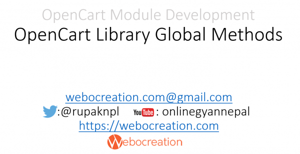 OpenCart Library Global Methods – OpenCart Module Development