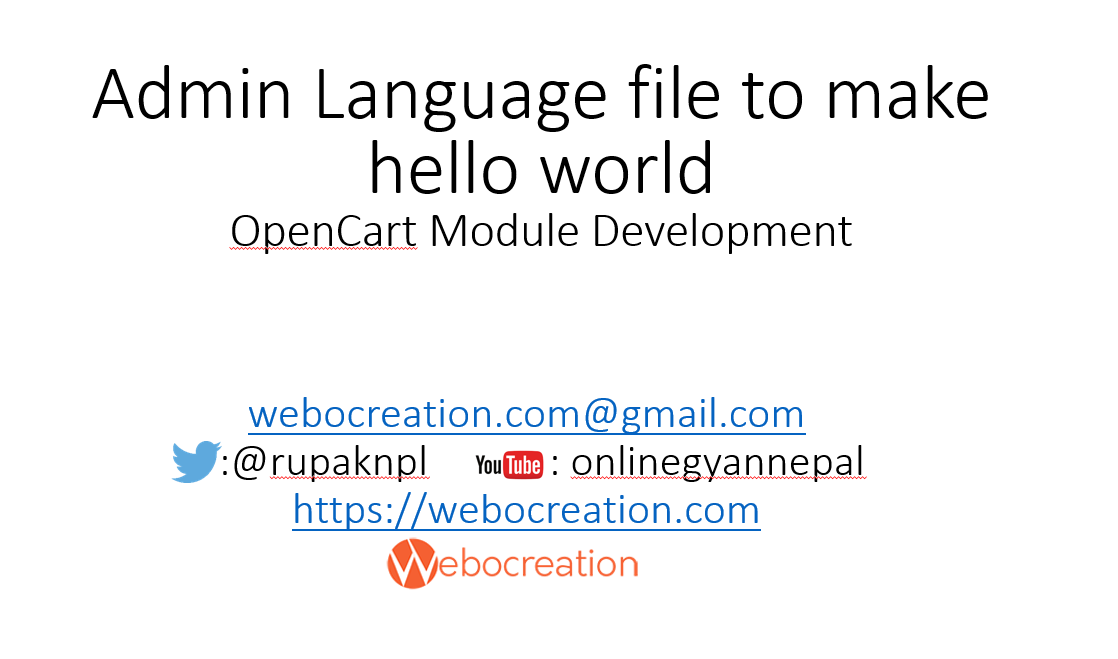 Admin Language file to make hello world – OpenCart Module Development