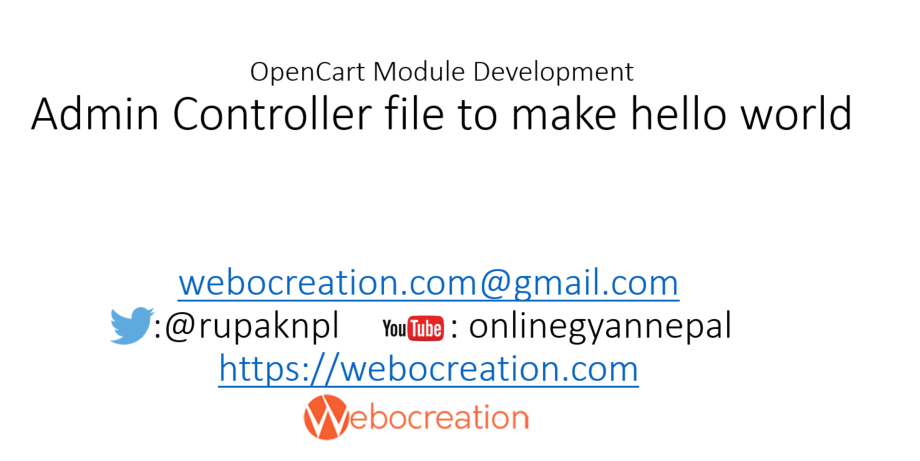 Admin Controller file to make hello world module – OpenCart Module Development