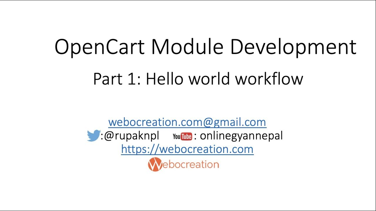 Workflow or markup to make hello world module - OpenCart Module Development