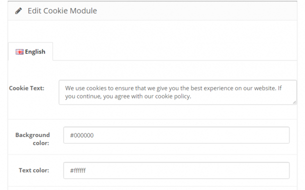 Cookiefy your OpenCart Store Free Module for Version 2.3.0.2