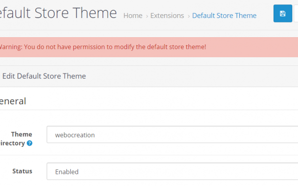 OpenCart 3 error Warning: You do not have permission to modify the default store theme!