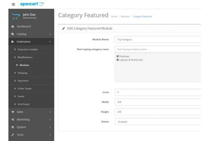 Featured Categories Opencart module for free