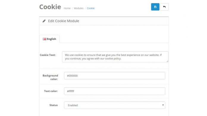 Cookies Opencart module for free