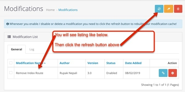 Modifications lists of extension Opencart