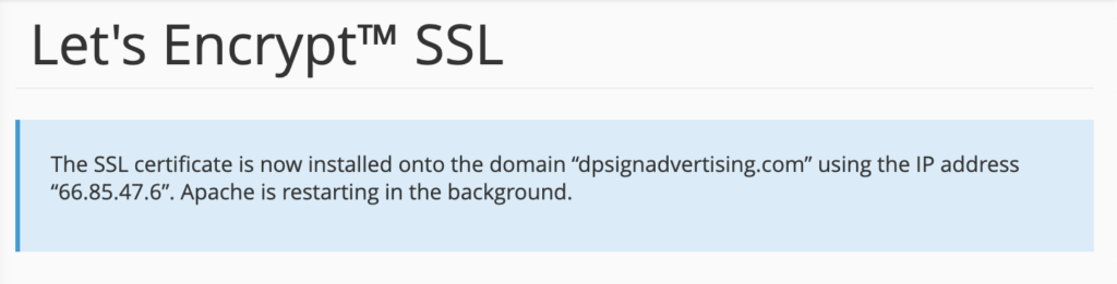 Installation of SSL certificate