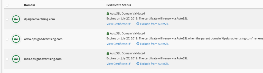 Auto SSL domain validated