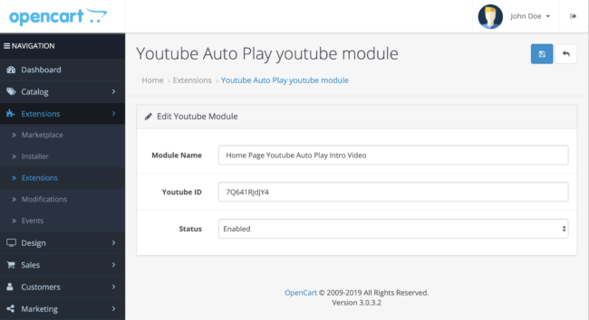 Youtube video to show  with autoplay, Free Opencart module or extensions