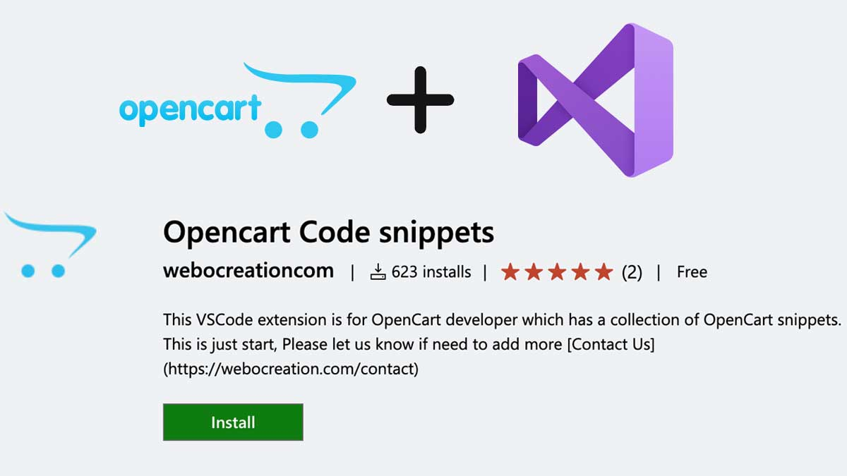Opencart code snippets VSCode extensions