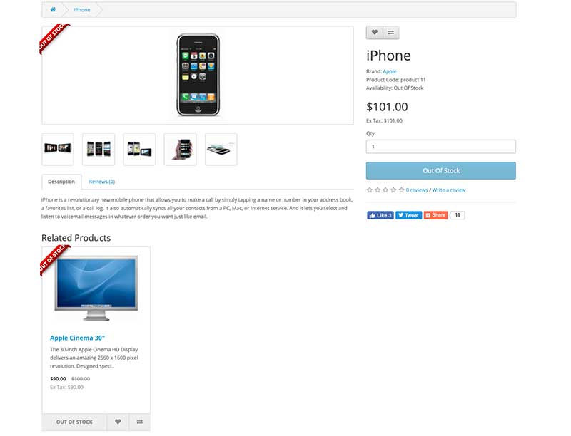 Product page out of Stock