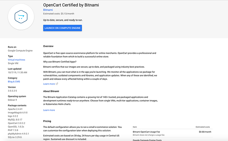 Opencart Certified by Bitnami in GCP