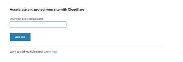 Add new site in cloudflare