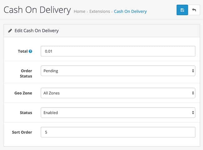 cash on delivery order status opencart