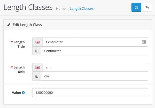 Length classes in Opencart