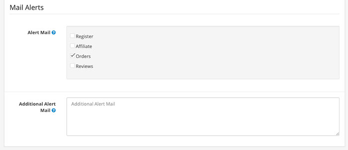 Email Alerts setting in Opencart