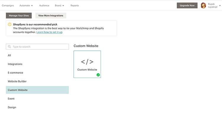 mailchimp custom html tracking