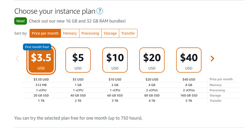 Choose your instance plan for Opencart