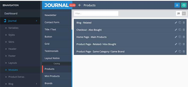 Products module in the Journal theme Opencart