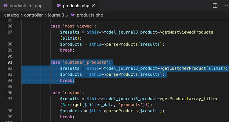 Journal custom code products