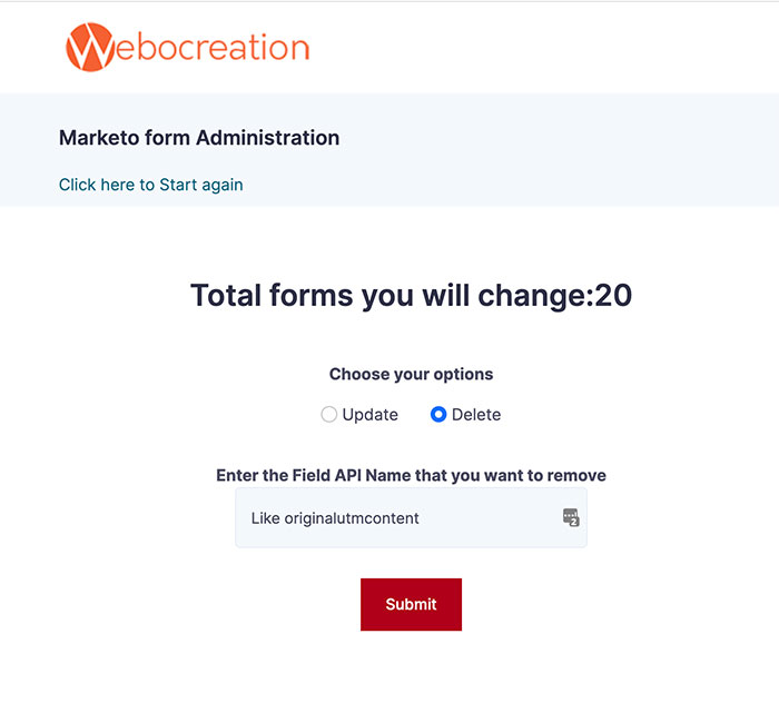 Form administration to delete or update Marekto form